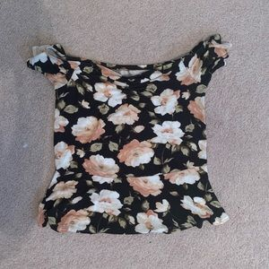 American Eagle floral ribbed top